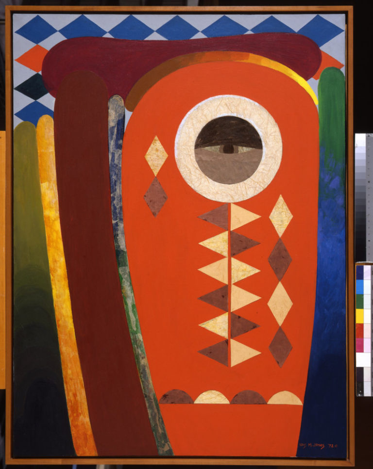 Semi-abstract composition in shades of blue, orange, yellow, green, grey, white and burgundy. In the center, an orange oval with a black and white eye in the center, supported by symmetrical strips of semi-circles and diamonds. Vertical blocks of color reach upwards on both sides.