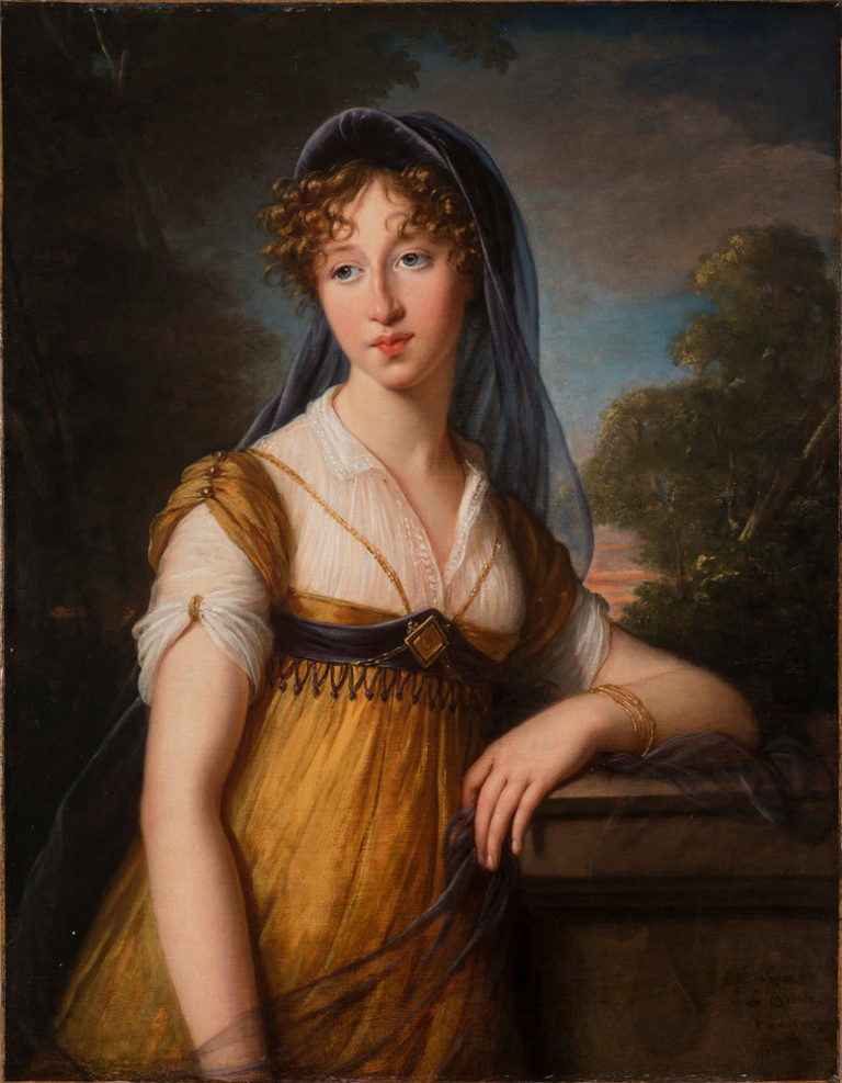 Realistically rendered half-portrait of a light-skinned young woman leaning casually against a stone garden wall with trees and sky inthe background. she is wearing a gold and white Grecian-inspired dress with a dark blue veil.draped loosely over her curly light-brown hair.
