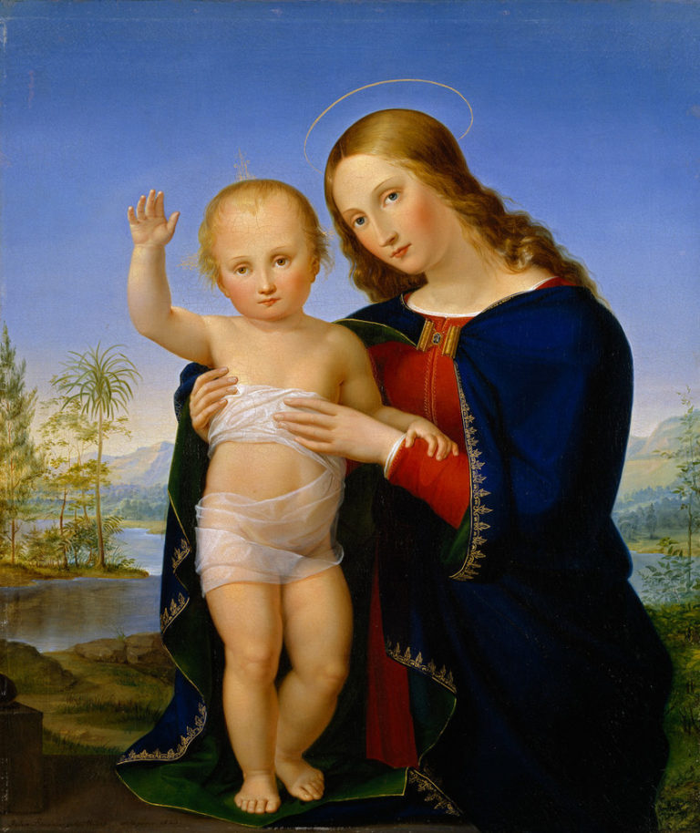 Painting of the Virgin Mary and an infant Jesus, both light-haired and light skinned. Held by Mary, Jesus stands on the hem of her blue robe, raising his right hand as they both gaze at the viewer. Behind, a daylight landscape with mountains, palm trees and a body of water.