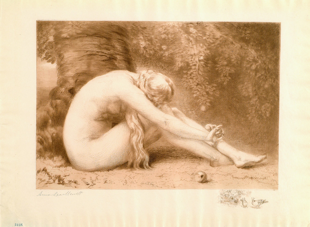 Reddish-brown print of a light-skinned nude female who sits in profile in front of a large twisted tree. She is bent over at the waist, hugs her bent knees with outstretched arms, and rests her head on her knees facing away from the viewer. A partially eaten apple rest in front.