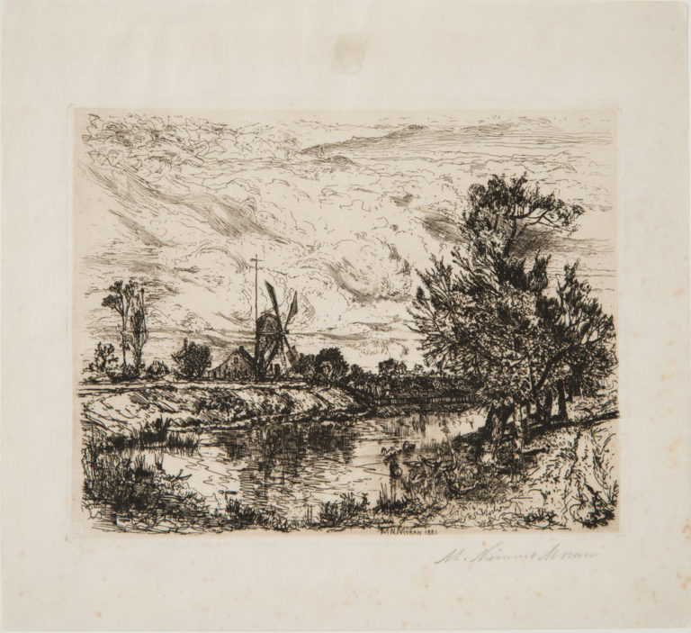 A black and white etching of a landscape with a cloudy sky. A body of water recedes into the background. On the left in the distance is a windmill next to which is a tall telephone pole and a small house and a few trees. On the right closer to the foreground is copse of trees.