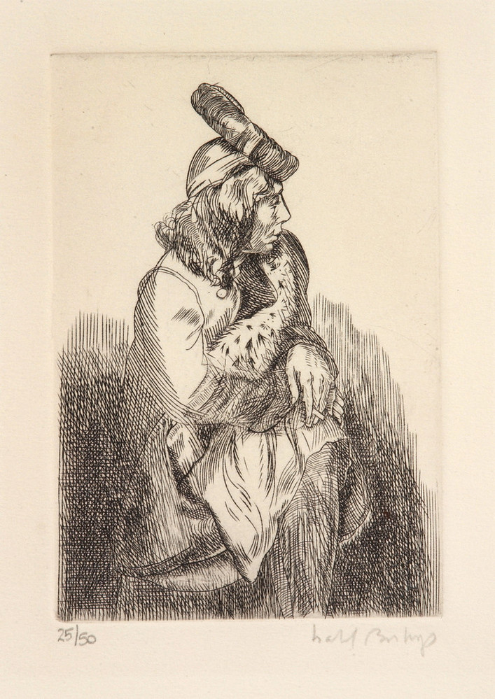 Woman with large hat sits contemplatively, looking left, her arms resting on her crossed knees, holding a cigarette. Dark lines of print begin on the bottom, fading out towards the center, in line with her hands. A long fur stole reaches over her coat, crossing her body.