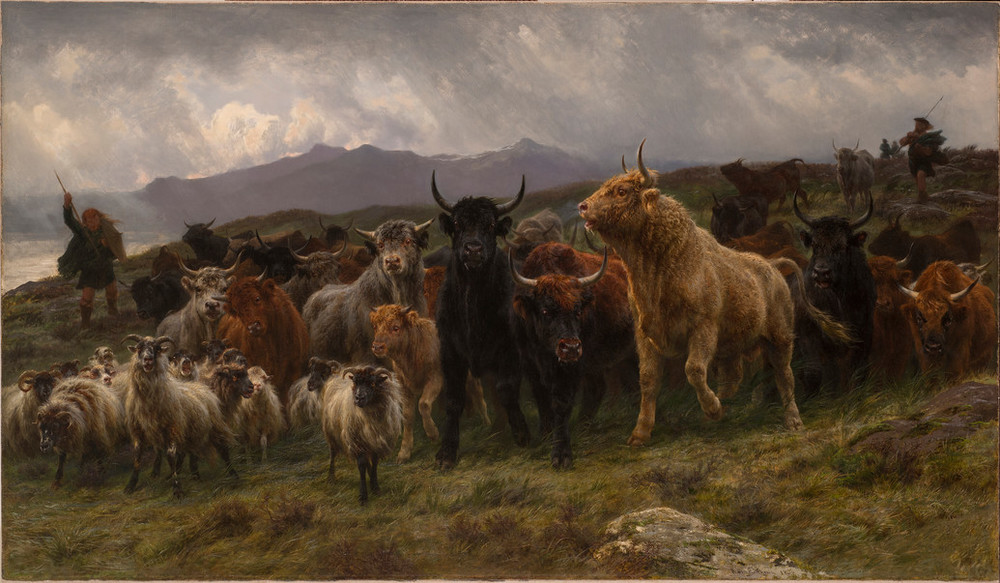 A large group of animals is herded by two shepherds on a grassy hill above the ocean. Black, tan, and red bulls crowd small white sheep with curled horns. The animals move nervously, their coats blowing in the wind. Clouds in the background suggest an impending storm.