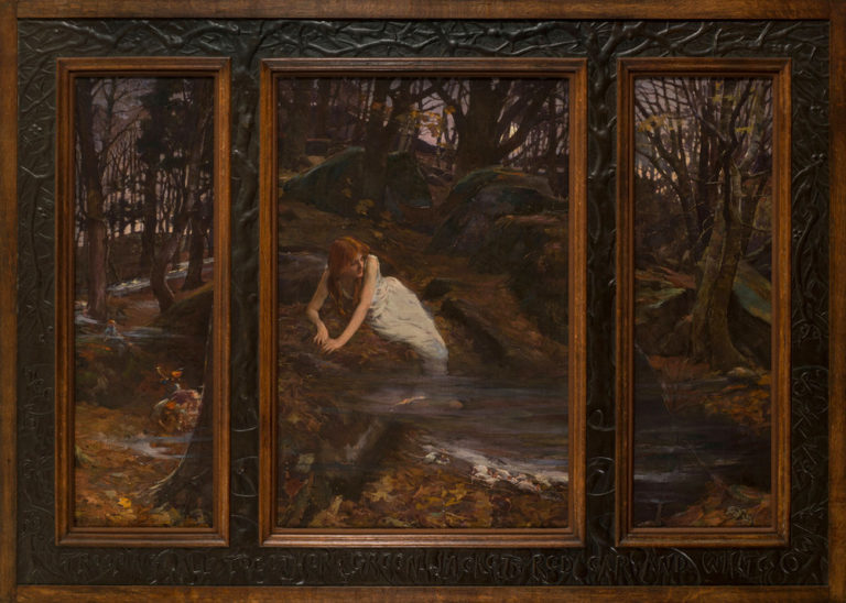 An auburn-haired, light-skinned young woman occupies the central panel of a triptych. Barefoot and clad in a sleeveless white dress, she reclines on a bed of autumn leaves in a rocky, moonlit landscape. The mist at her feet obscures mice. Fairy folk frolic in the left panel.