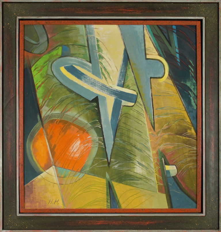 Abstract painting rendered in sketchy brushstrokes features stylized geometric shapes in an architectural composition. Muted blues, greens, and yellows dominate while a deep orange circle blazes in the lower left quadrant.