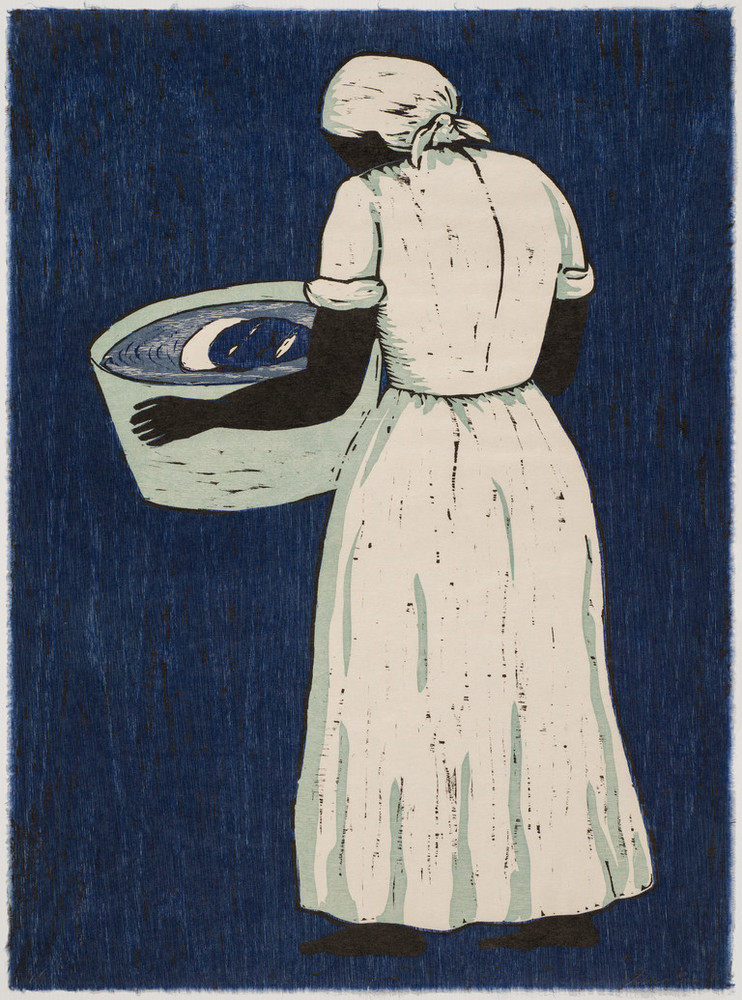 A woodcut print shows a barefoot African American woman from the back at a slight angle wearing a white dress and headwrap and holding a washtub. Her face is visible only via the reflection in the tub water. The print's background and the woman's reflection are both rendered in blue ink.