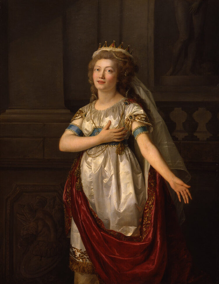 Realistic painting of a light-skinned woman with elaborately-coiffed medium-brown hair, gazing at the viewer, wearing a classic white silk dress and red draped cape with gold embellishments, gesturing dramatically with one hand over her heart and the other extended outward.