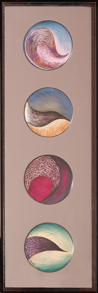 Four painted plates are displayed vertically against a mauve background within a brown frame. Each plate is painted with colorful swirls of pink, blue, brown, sand, and green. The painted shapes suggest abstract landscapes or organic forms.