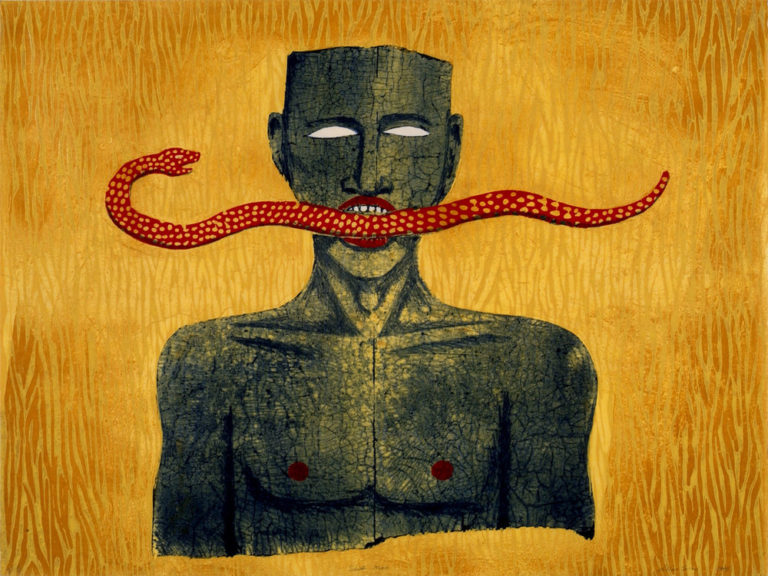 Bold print features a bust-length figure with blank, white eyes against a faux-wood and orange backdrop. The figure daringly holds a red snake between their white teeth and red lips that stretches out horizontally. The snake's head is turned to look back at the figure.