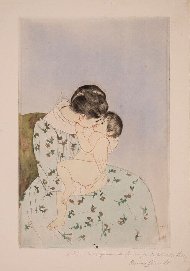 A print portrays a seated, dark-haired, light-skinned woman cradling a naked infant closely. She tilts her head down as if to kiss the child, who appears to make eye contact with her. The woman wears a pale blue, patterned dress, which almost blends into the blue background.