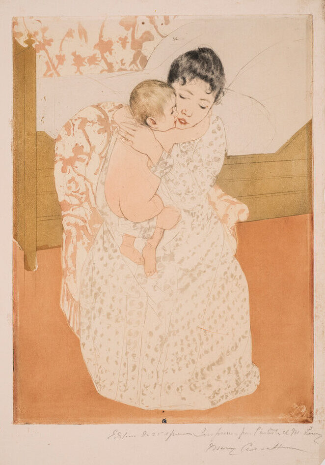 A print shows a dark-haired, light-skinned woman sitting in a chair before a simple bed and closely embracing a naked infant. The baby's arm encircles her neck, and their cheeks touch. The lack of shading and the pattern repeated on the back wall and chair flatten the space.