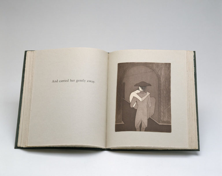 Visual novel, open to a black and white print depicting a man with his back to the viewer, wearing a hat and coat with tails, carrying a woman in his arms, her arm draped around his neck and legs hanging loosely. The opposite page reads,