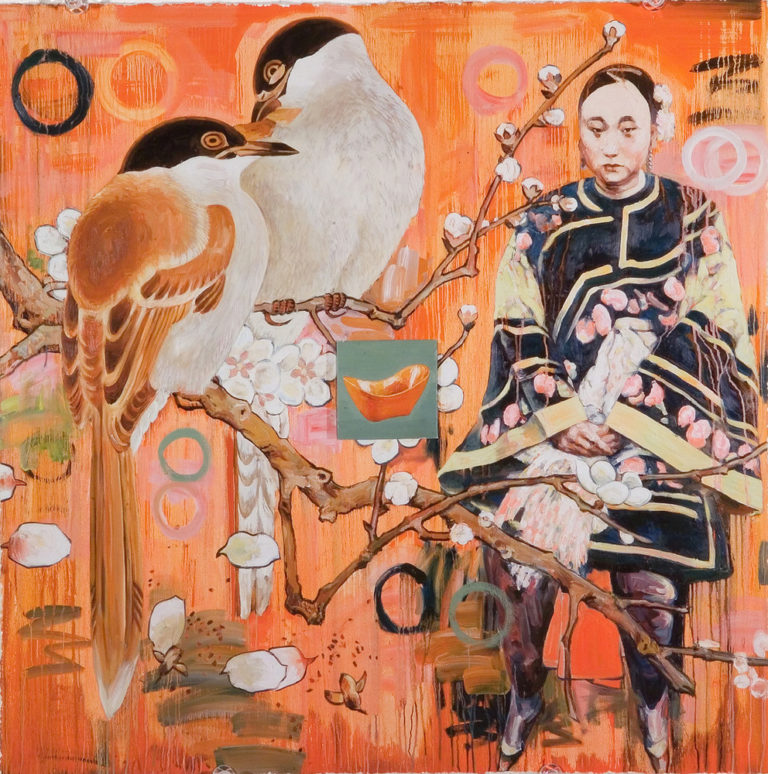 Amid varied motifs that appear collaged or painted on an orange, coral, and peach background, a pair of large black, white, and tan birds perch on a flowering branch, which scatters petals. To the right, a seated, light-skinned woman with Asian features wears an elegant tunic.