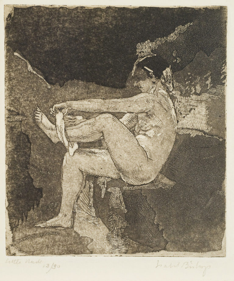 Print of a seated woman removing her white underwear. Seen from the side, the lifts her left leg and pulls with both hands. Her light skin contrasts with her dark hair and the grey and black background behind her, which is structured by abstract shapes resembling rocks.
