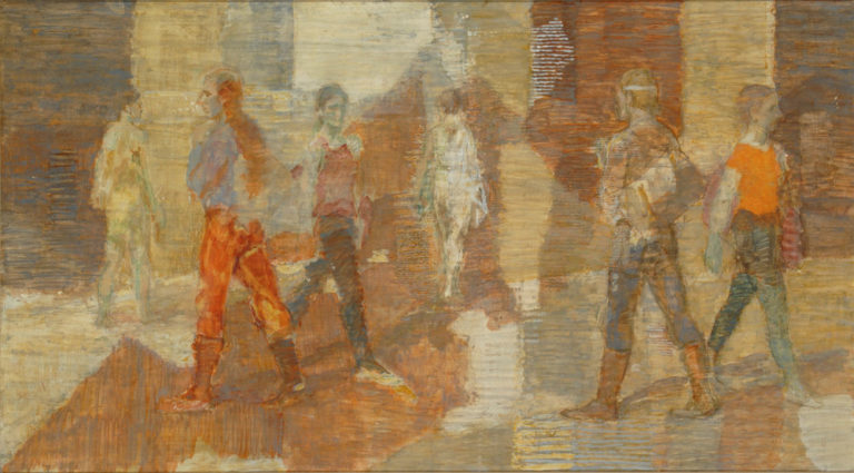 Six painted figures walk through a space structured by rectangular shapes of red, brown and tan. Dressed mainly in pants, boots and shortsleeved shirts, the figures pass each other without interacting and move in many directions. The texture of the panel surface shows through the paint.