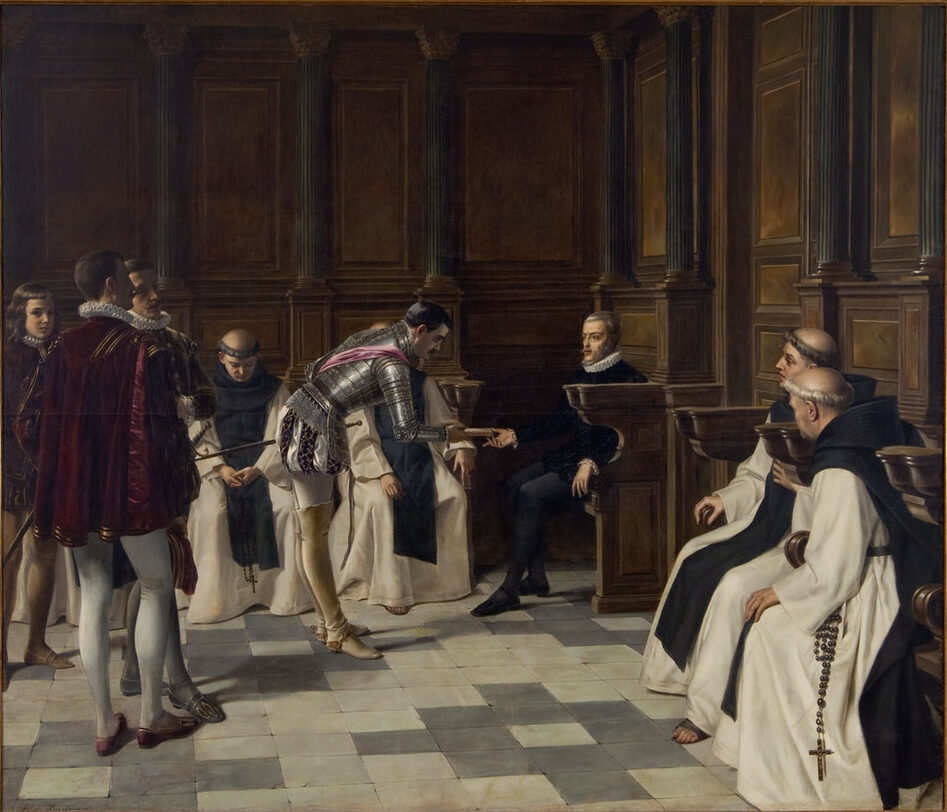 Very large painting, realistically depicting a king's court. Dark wood-paneled walls with tall column surround members of the clergy and court, all light-skinned men, attending the seated king. A man in armor bows to the king while handing him a scroll.