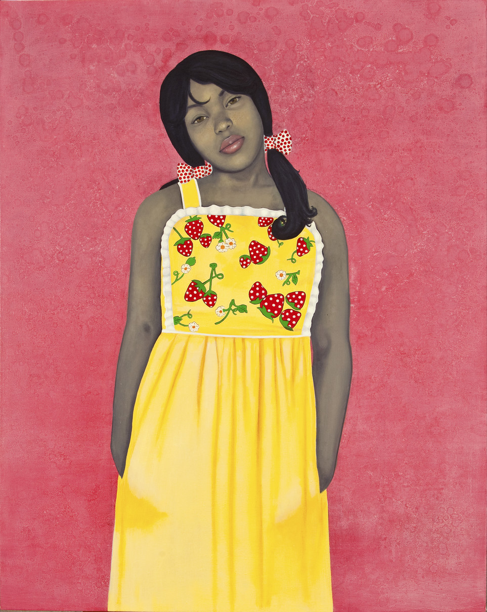 Wearing a bright yellow apron-style dress with strawberries and lace-trim details, an expressionless young woman with medium-dark skin tone rendered in grayscale stares out with her hands in her dress pockets. Her head is cocked to one side against an intensely pink-colored background.