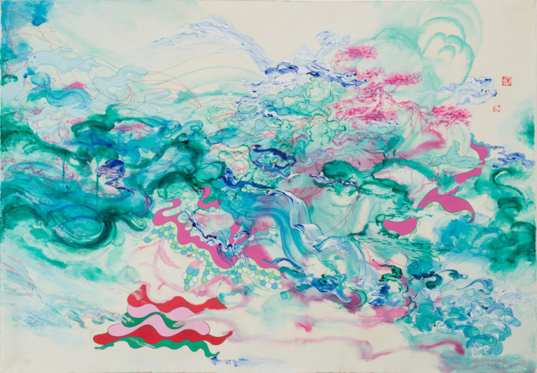Abstract painting features translucent, wave-like turquoise, aquamarine, and fuchsia washes mingled with red lines and hard-edged, matte-pink sinuous shapes bounded by blue and green scales. Other details resolve into a human hand, tree-sprigged mountains, and craggy branches.