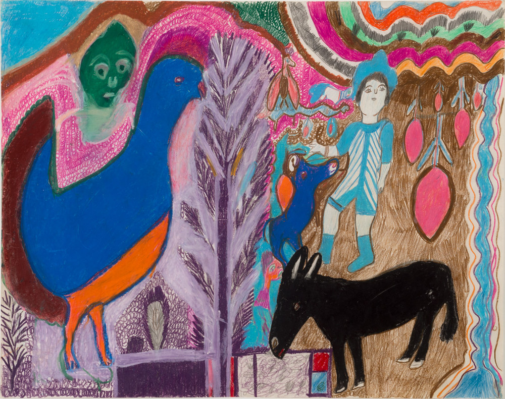 A vividly colored drawing of multiple elements including a large blue bird at the left, over which hovers a green face. In the center is a purple tree.To the right are a black donkey, a figure dressed in light blue stripes and a dark blue dog.