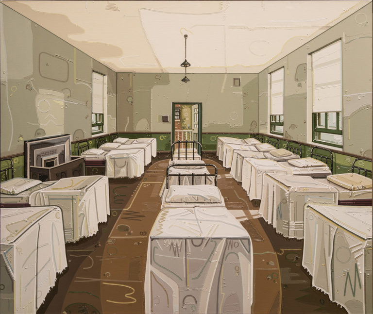 Identical beds with white sheets line the walls and form a row down the center of an institutional, grey room with a brown floor. An open door sits at the end of the and partially open windows sit in the walls. The symmetrical composition is overlaid with faint geometric shapes.