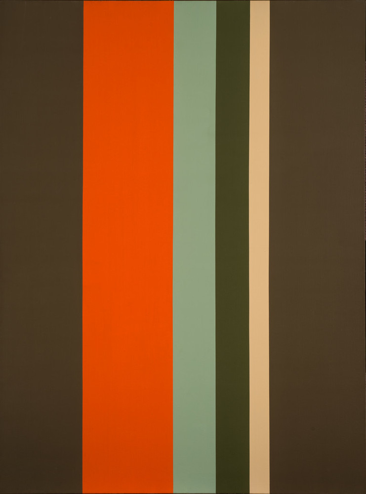 Large, minimalist painting consisting of six clean, vertical stripes of varying widths. At the center, the composition features a wide dark orange stripe with thinner pale yellow, mint snd olive green stripes, flanked by two wide dark drab green stripes.