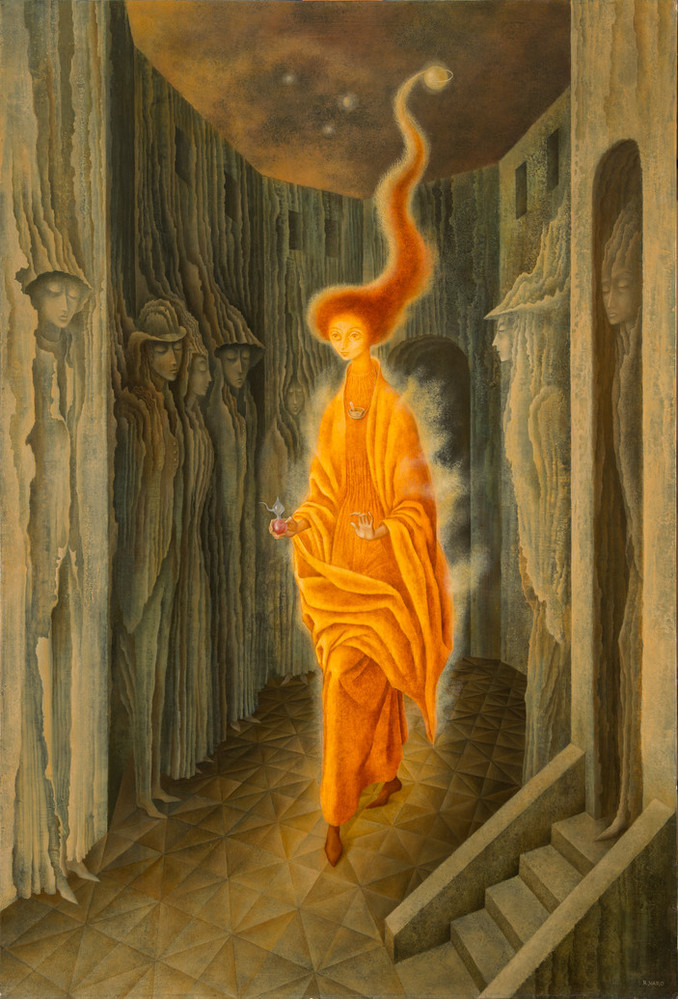 Rendered with precise brushwork, a tall, thin figure strides forward wearing flowing, orange garments emanating a misty golden aura. Her fiery red hair stretches heavenward, encircling a celestial orb. Figures appear encased in the walls of the concave structure surrounding her.