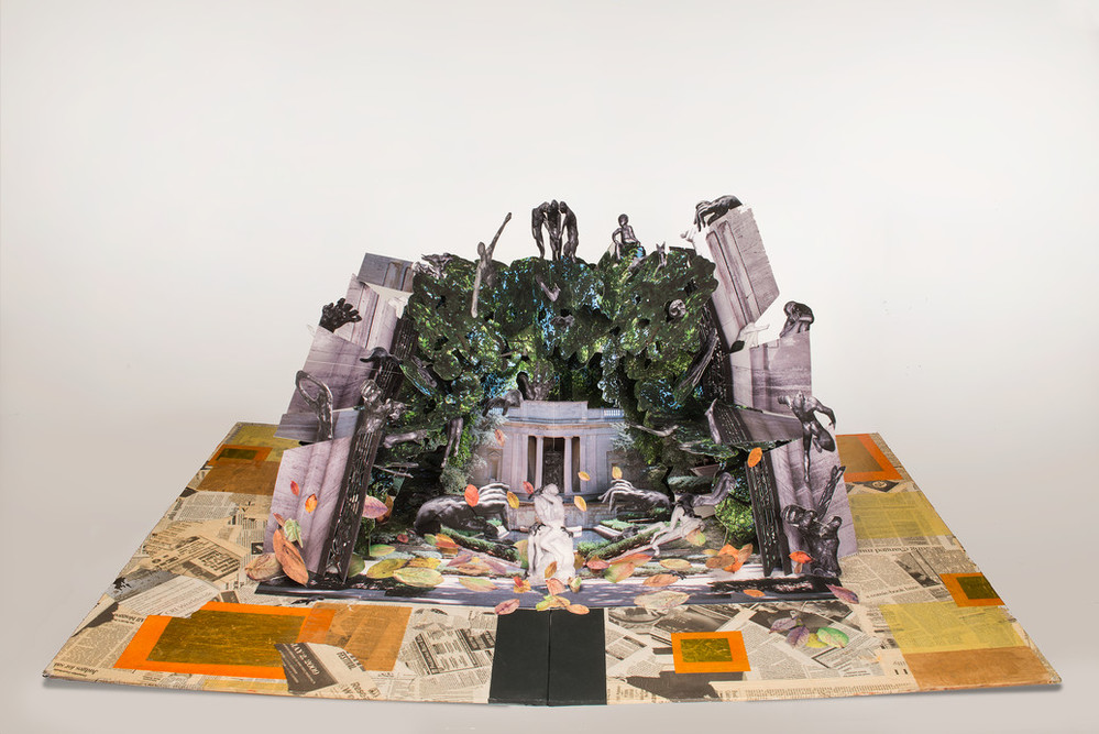 Large-scale pop-up book with Auguste Rodin's and Camille Claudel's sculptures in a deconstructed classical building. Sculptures populate a mass of greenery that overtakes the building, bordered by crumbling columns. Scattered petals of color match the collaged newspaper base.