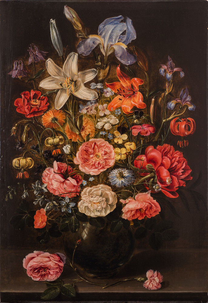 Realistic and detailed, the still life painting meticulously renders a variety of brightly colored flowers densely arranged in a dark round vase set against a dark background. The vase sits upon a stone ledge with two stray pink roses laying in the foreground.