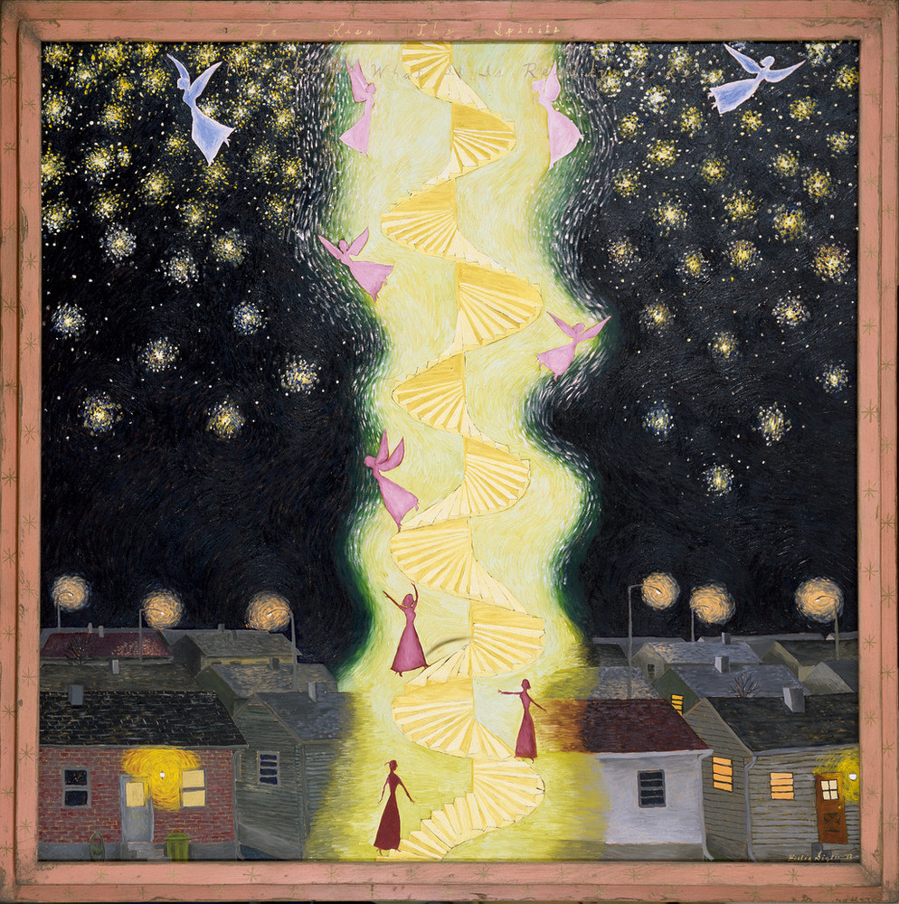 Set against a black, starry nightime sky above a group of houses, a glowing spiral staircase ascends through the center of the painting. A tiny female figures climbs the staircase, transforming as she goes, her raised arms transform into wings as she finally flies off above the town.