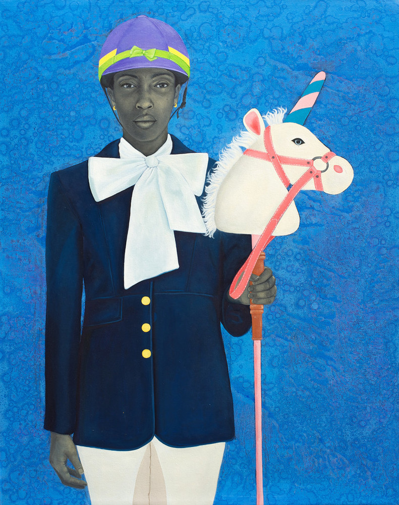Portrait of a young woman with medium-dark skin tone rendered in grayscale set against a vibrant blue background. She wears horseback riding attire along with playful elements like a multicolored helmet and oversized bow; she holds a child's stick unicorn in her hand.
