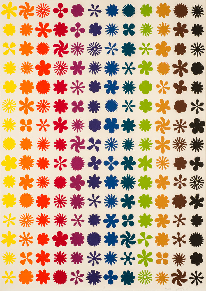 Twelve vertical columns—each a different color— of repeating flower, pinwheel, and starburst shapes on a white background.