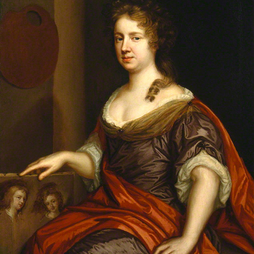 Painting of a woman with a light skin tone and auburn hair. She sits next to an artist's palette and props up a partially finished painting of two figures with her right hand. Her dress, in white, red and eggplant, has voluminous sleeves and folds that catch the light.