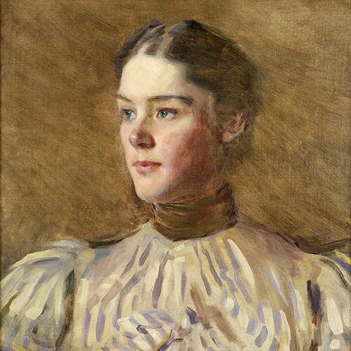 A painting of a light-skinned adult woman gazing to her right against a brown background. Her brown hair is neatly pulled back and she wears a voluminous white top with puffy sleeves and a high brown collar. The top is rendered in thick brush strokes, while her face is finely detailed.
