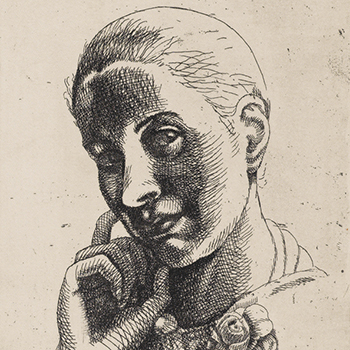 A black ink drawing of a woman on a beige ground. She is drawn from the neck up in three-quarter profile with a slight smile, her hair pulled back, her right hand held up to her right cheek, and her head tilted.