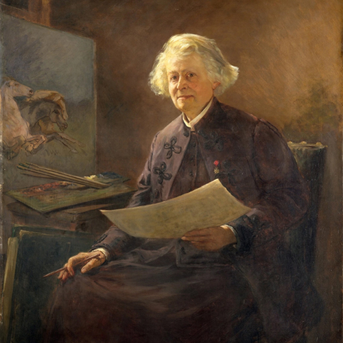 Painting of a light-skinned, adult woman with alert eyes and light illuminating her silvery hair. She wears purple clothing over a white blouse and holds a pencil and a white sheet of paper. A palette rests on a table at her side, in front of a painting of horses.