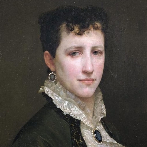 A painting of a light-skinned woman with short, dark, curly hair and light grey eyes. She is depicted against a solid, dark grey background from the chest up, and wears a dark green coat over a white lace shirt with a ruffled collar and a sapphire and pearl brooch.