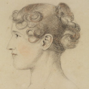 Pencil drawing on beige ground of the head of a young woman in profile. She has light skin, flush peach cheeks, and curly brown hair pulled up in a bun.