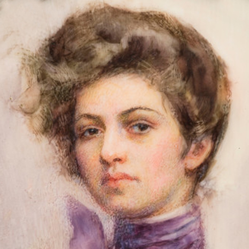A watercolor of a young, lightskinned woman with brown hair piled on top of her head. She is depicted from the neck up, and is wearing a purple shirt with a high collar. The brushstrokes are visible and short.