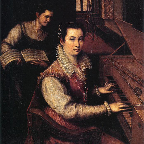 Painting of a light-skinned adult woman sitting at a keyboard. Her dark hair is pulled back. She wears an ornate dress with long sleeves and white lace collar. Behind her, a light-skinned woman holds open a book of sheet music. In the background, an easel stands by a window.