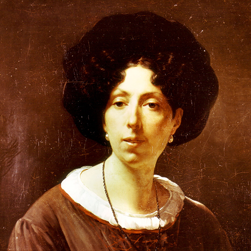Painting of a light-skinned adult woman with dark eyes and dark, curled hair styled neatly away from her face and tucked under a large hat. She wears earrings and a necklace, along with a loose brown top with a pleated white collar.