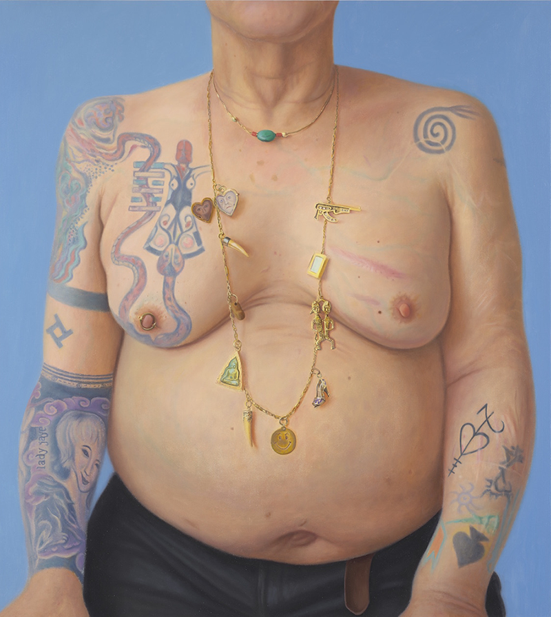 A realistic portrait of a woman from the chin to wait