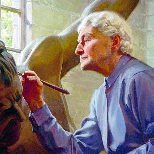 A vibrant painting of a light-skinned older woman in profile focusing calmly yet intently on sculpting details into a large sculpture of a human figure. Her white hair is short, neat, and wavy and she wears a blue collared shirt; she works by the sunlight beaming through a window.