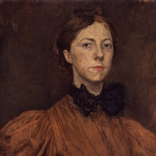 A painting of a light-skinned adult woman with brown hair pulled back from her face. She wears a high-necked brown shirt with a large black bow at the collar. She is posed from the chest up against a brown background with visible brushstrokes.