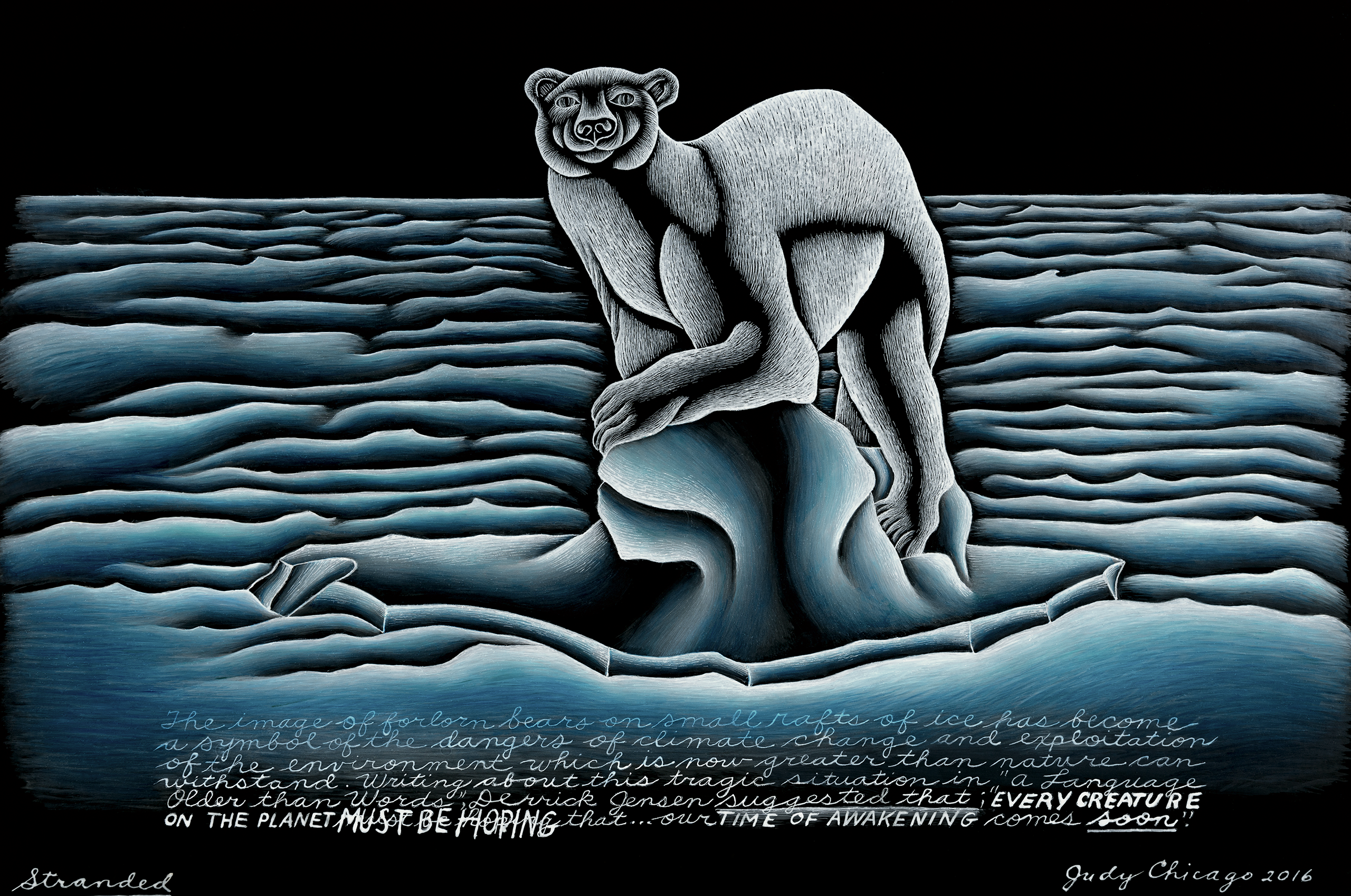 Painting on black glass shows a polar bear standing on a small block of ice in a choppy ocean and staring out at viewer.