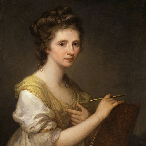 A painting of a light-skinned adult woman delicately holding a paintbrush and small canvas. Her brown hair is piled carefully in large curls atop her head, and she wears a flowing, billowy yellow and white dress.