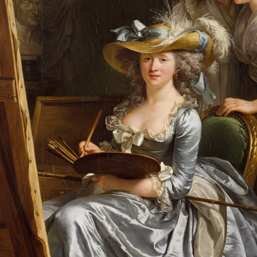 A painting of a light-skinned adult woman sitting in a plush, luxurious chair at an easel. She holds a painting palette and paintbrushes, and wears an extravagant, pale blue and white gown and a large, wide-brimmed hat adorned with fluffy white feathers and matching blue ribbon.