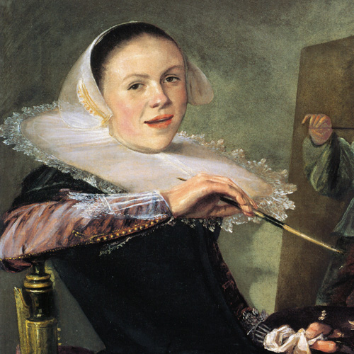 Half-length interior painting of a smiling light-skinned adult woman with dark hair pulled back. She wears a white bonnet and dark-color dress with white lace trim and large collar. She leans back in a chair before a painting, holding a paintbrush, palette, and white cloth.