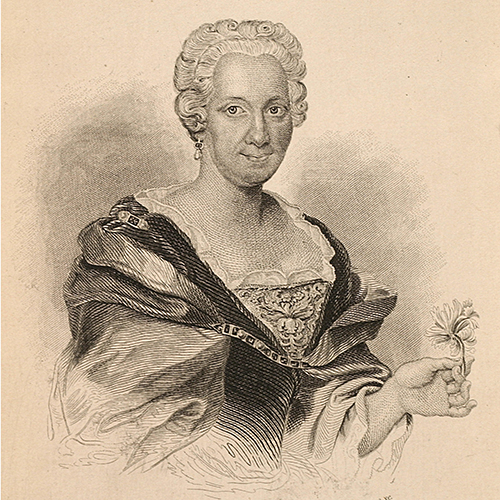 Etching of a woman holding the stem of a flower in her left land. Her white hair is short and curled to show an earring in her right ear. Her dress, with its lace collar and voluminous sleeves, looks like it is made from expensive fabrics. Her expresssion is open and frank.