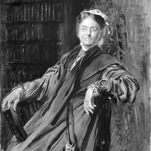 A detailed black-and-white painting of a light-skinned older woman sitting back in a chair and smiling slightly. Her arm rests on the back of the chair and her other arm is propped up on a book in her lap. She wears a long-sleeved, long, full dress, white bonnet, and glasses.