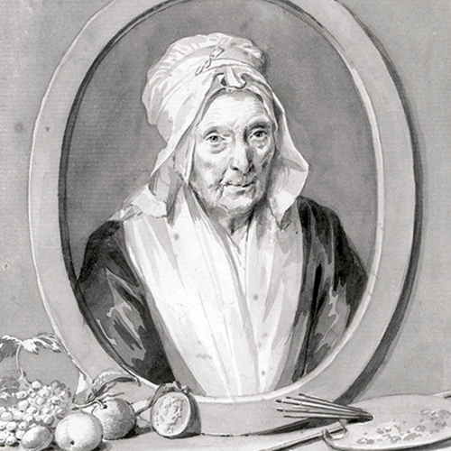 Drawing of an older light-skinned woman in an oval frame. She wears a white bonnet and scarf and stares directly at the viewer. Surrounding the frame sit various objects such as fruit, coins, and paint brushes and a palette.